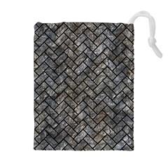 Brick2 Black Marble & Gray Stone (r) Drawstring Pouches (extra Large)