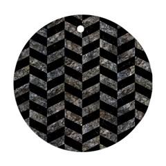 Chevron1 Black Marble & Gray Stone Ornament (round)