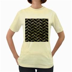 Chevron1 Black Marble & Gray Stone Women s Yellow T Shirt