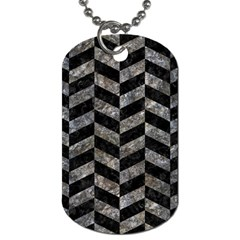 Chevron1 Black Marble & Gray Stone Dog Tag (two Sides)