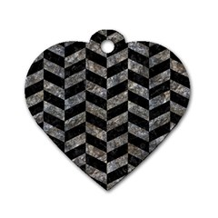 Chevron1 Black Marble & Gray Stone Dog Tag Heart (one Side)