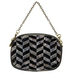 Chevron1 Black Marble & Gray Stone Chain Purses (one Side)