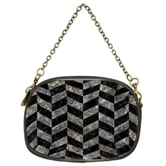 Chevron1 Black Marble & Gray Stone Chain Purses (two Sides)