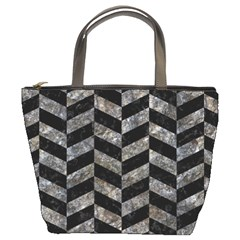 Chevron1 Black Marble & Gray Stone Bucket Bags