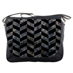 Chevron1 Black Marble & Gray Stone Messenger Bags