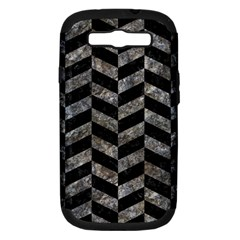 Chevron1 Black Marble & Gray Stone Samsung Galaxy S Iii Hardshell Case (pc+silicone)