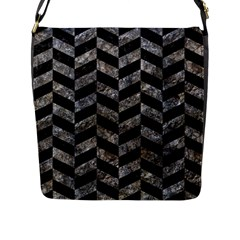 Chevron1 Black Marble & Gray Stone Flap Messenger Bag (l)