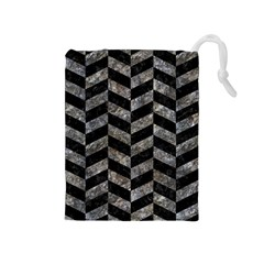 Chevron1 Black Marble & Gray Stone Drawstring Pouches (medium)