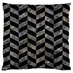 Chevron1 Black Marble & Gray Stone Large Flano Cushion Case (one Side)