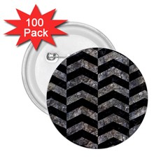 Chevron2 Black Marble & Gray Stone 2 25  Buttons (100 Pack)