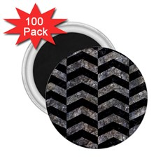 Chevron2 Black Marble & Gray Stone 2 25  Magnets (100 Pack)