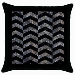 Chevron2 Black Marble & Gray Stone Throw Pillow Case (black)