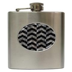 Chevron2 Black Marble & Gray Stone Hip Flask (6 Oz)