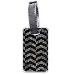 Chevron2 Black Marble & Gray Stone Luggage Tags (one Side)