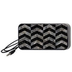 Chevron2 Black Marble & Gray Stone Portable Speaker