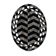 Chevron2 Black Marble & Gray Stone Ornament (oval Filigree)