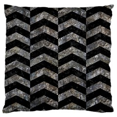 Chevron2 Black Marble & Gray Stone Standard Flano Cushion Case (one Side)