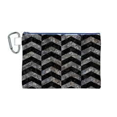Chevron2 Black Marble & Gray Stone Canvas Cosmetic Bag (m)