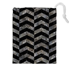 Chevron2 Black Marble & Gray Stone Drawstring Pouches (xxl)