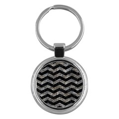 Chevron3 Black Marble & Gray Stone Key Chains (round)