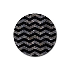 Chevron3 Black Marble & Gray Stone Rubber Coaster (round)
