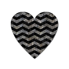 Chevron3 Black Marble & Gray Stone Heart Magnet