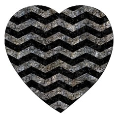 Chevron3 Black Marble & Gray Stone Jigsaw Puzzle (heart)