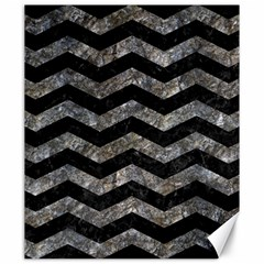 Chevron3 Black Marble & Gray Stone Canvas 20  X 24