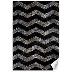 Chevron3 Black Marble & Gray Stone Canvas 24  X 36