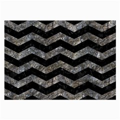 Chevron3 Black Marble & Gray Stone Large Glasses Cloth (2 Side)