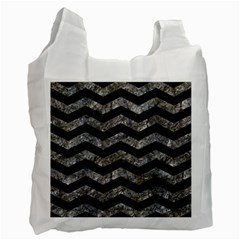 Chevron3 Black Marble & Gray Stone Recycle Bag (one Side)