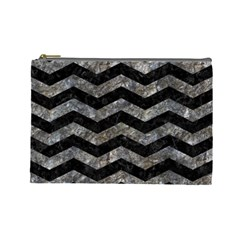 Chevron3 Black Marble & Gray Stone Cosmetic Bag (large)