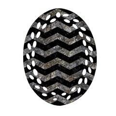 Chevron3 Black Marble & Gray Stone Ornament (oval Filigree)