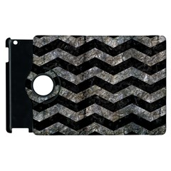 Chevron3 Black Marble & Gray Stone Apple Ipad 2 Flip 360 Case
