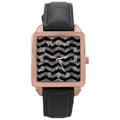 Chevron3 Black Marble & Gray Stone Rose Gold Leather Watch