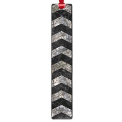 Chevron3 Black Marble & Gray Stone Large Book Marks