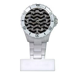 Chevron3 Black Marble & Gray Stone Plastic Nurses Watch