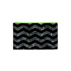 Chevron3 Black Marble & Gray Stone Cosmetic Bag (xs)