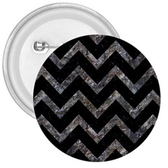 Chevron9 Black Marble & Gray Stone 3  Buttons