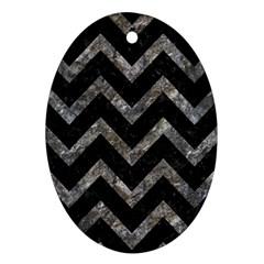 Chevron9 Black Marble & Gray Stone Ornament (oval)