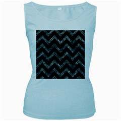 Chevron9 Black Marble & Gray Stone Women s Baby Blue Tank Top