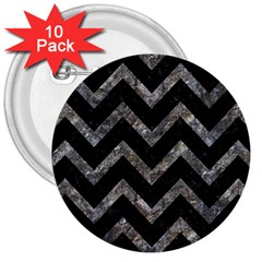 Chevron9 Black Marble & Gray Stone 3  Buttons (10 Pack)