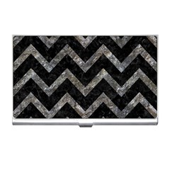 Chevron9 Black Marble & Gray Stone Business Card Holders