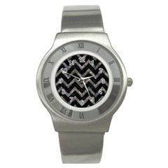 Chevron9 Black Marble & Gray Stone Stainless Steel Watch