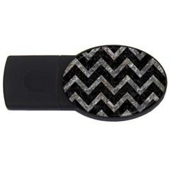 Chevron9 Black Marble & Gray Stone Usb Flash Drive Oval (4 Gb)