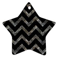Chevron9 Black Marble & Gray Stone Star Ornament (two Sides)