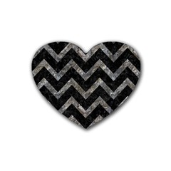 Chevron9 Black Marble & Gray Stone Rubber Coaster (heart)
