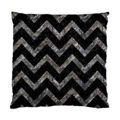 Chevron9 Black Marble & Gray Stone Standard Cushion Case (one Side)