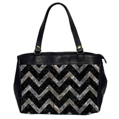Chevron9 Black Marble & Gray Stone Office Handbags (2 Sides)