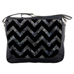 Chevron9 Black Marble & Gray Stone Messenger Bags